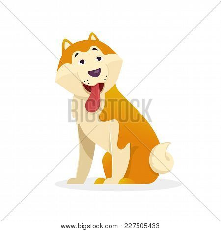 Funny Dog With Tongue Wags Tail Sitting Vector Flat Illustration. Dog Cartoon Character Isolated On