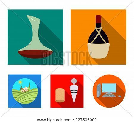 A Bottle Of Wine In A Basket, A Gafine, A Corkscrew With A Cork, A Grape Valley. Wine Production Set