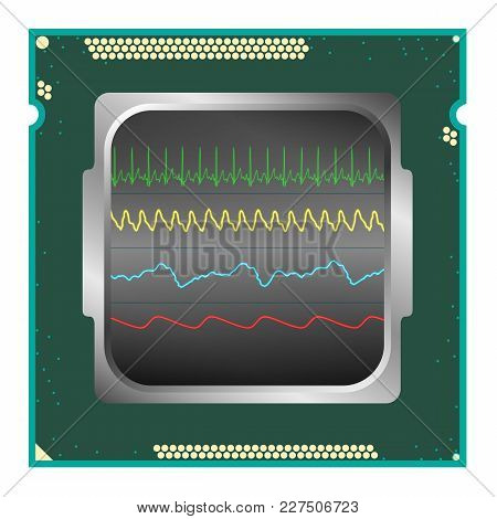 Illustration Of A Cpu Icon With A Heart Beat Sign