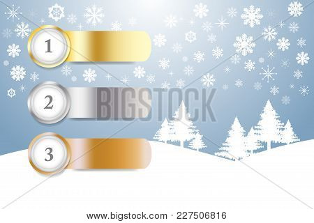 Sports Rank Numbers In Winter Snow Landscape With Trees And Snowflakes