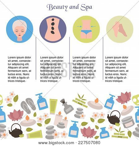 Spa Salon Infographics With Beauty Icons. Site Template.