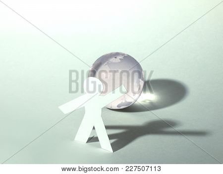 A Leader Man On Abstract Global Map Background