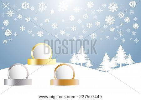 Sports Rank As A White Circles Ready For Your Text With Golden, Silver And Bronzed Labels In Winter