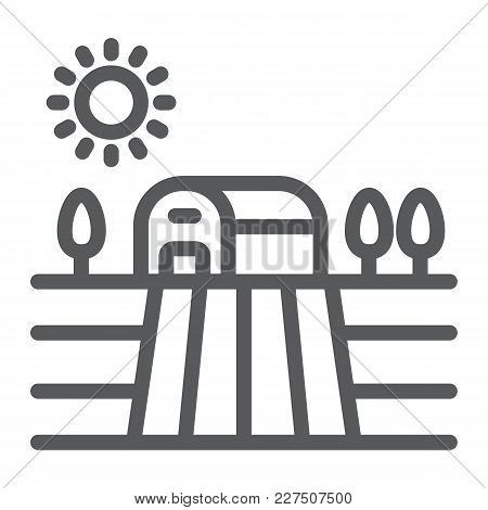 Harvest Field Line Icon, Farming And Agriculture, Countryside Sign Vector Graphics, A Linear Pattern