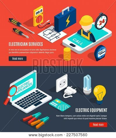 Electricity Isometric Banner Set With Electrician Service And Electric Equipment Headlines Vector Il