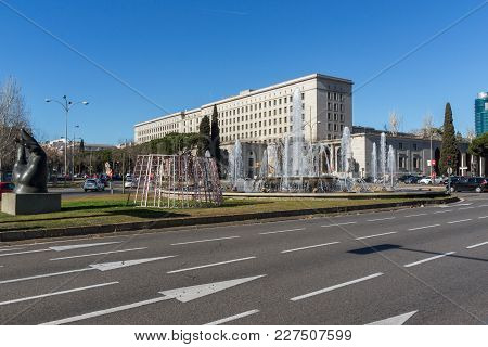 Madrid, Spain - January 21, 2018:  Building Of Ministry Of Employment And Social Security In City Of