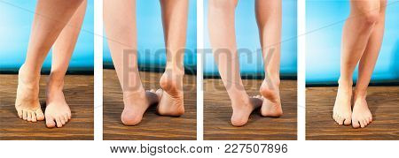 Young Girl Steppe Feet With Itchy Feet Uses His Big Toe To Scratch His Other Foot On Wooden Floor Se