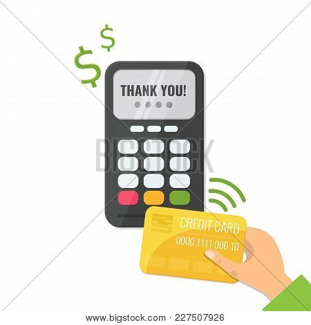 Wireless Method Payment, Nfc Payment Concept. Pos Terminal Confirm The Payment And Hand With Credit