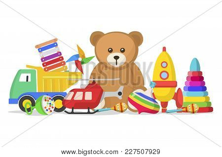 Kids Toys Set. Collection For A Child To Play With, Doll, Model Car, Teddy Bear, Toys For Fun And Am