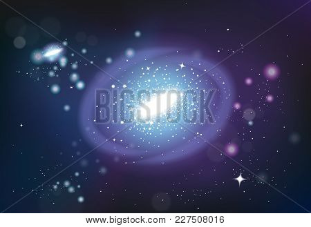 Galaxy Spiral Realistic Background Composition With Colourful Images Clusters Of Stars With Specular