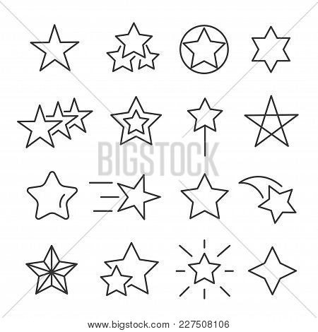 Stars Line Icon Set. Decorative Star-shaped Objects, Holiday Season Symbol, Special Event Design. Ve
