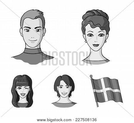 Different Looks Of Young People.avatar And Face Set Collection Icons In Monochrome Style Vector Symb