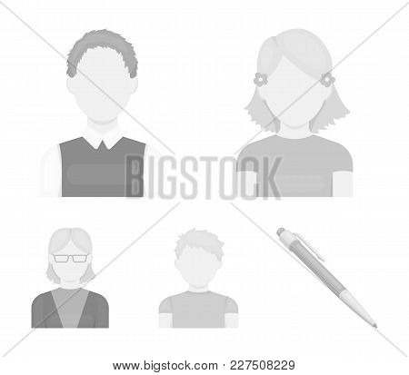 Red-haired Boy, Teen Girl, Grandmother Wearing Glasses.avatar Set Collection Icons In Monochrome Sty