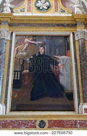 MANTUA, ITALY - JUNE 04: Saint Aloysius Gonzaga, altarpiece in Mantua Cathedral dedicated to Saint Peter, Mantua, Italy on June 04, 2017.
