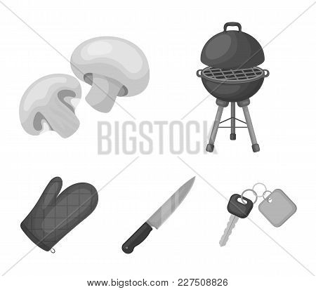 Barbeque Grill, Champignons, Knife, Barbecue Mitten.bbq Set Collection Icons In Monochrome Style Vec