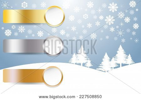 Sports Rank As A White Circles With Golden, Silver And Bronzed Labels In Winter Snow Landscape In Ba