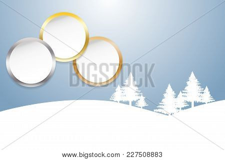Sports Rank As A White Circles With Golden, Silver And Bronzed Edges. Winter Snow Landscape In The B