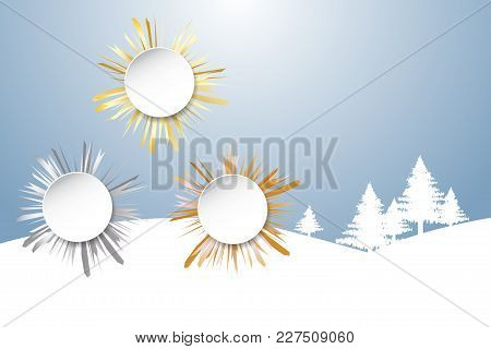 Sports Rank As A White Circles With Golden, Silver And Bronzed Beams In The Background. Winter Snow