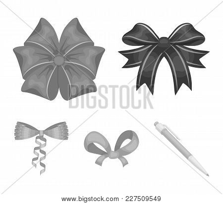 Bow, Ribbon, Decoration, And Other  Icon In Monochrome Style. Gift, Bows, Node, Icons In Set Collect