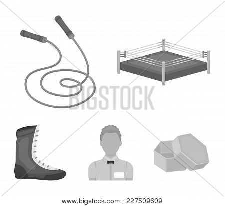 Ring, Rope, Referee, Sneakers .boxing Set Collection Icons In Monochrome Style Vector Symbol Stock I