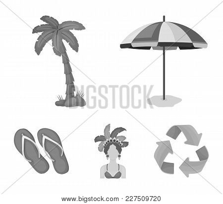 Brazil, Country, Umbrella, Beach . Brazil Country Set Collection Icons In Monochrome Style Vector Sy