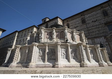 Historic Buildings Of Perugia, Umbria, Italy, At Morning. Fountain