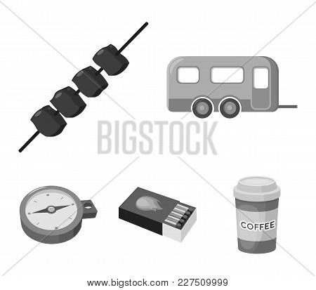 Trailer, Shish Kebab, Matches, Compass. Camping Set Collection Icons In Monochrome Style Vector Symb