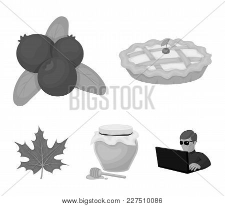 Cranberry, Pumpkin Pie, Honey Pot, Maple Leaf.canada Thanksgiving Day Set Collection Icons In Monoch