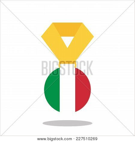 Medal With The Italy Flag Isolated On White Background - Vector Illustration.