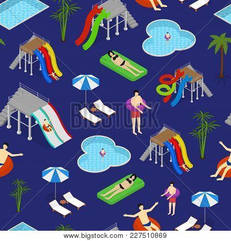 Aqua Park Seamless Pattern Background On A Blue Recreation Fun Leisure Isometric View. Vector Illust