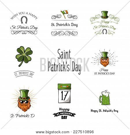Set Of St. Patricks Day Retro Holiday Badges. Vector Greetings Card Design. Saint Patricks Day Backg