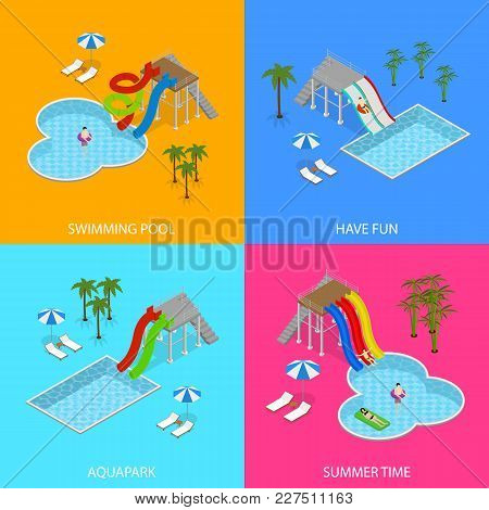 Aqua Park Concept Banner Card Set With People And Equipment For Recreation Fun Leisure Isometric Vie