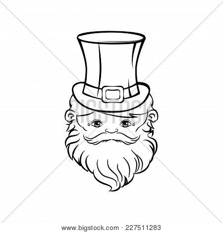 Leprechaun Face Isolated On White Background Vector. St Patrick Day Illustration