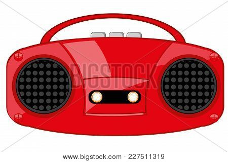 Vector Illustration Of The Outdated Player Of The Cassettes Music