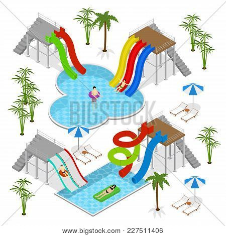 Aqua Park Concept With People And Equipment For Recreation Fun Leisure Isometric View Isolated On Wh