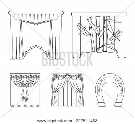Embroidery, Textiles, Furniture And Other  Icon In Outline Style.curtains, Stick, Cornices, Icons In