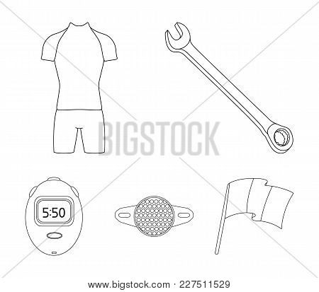 A Wrench, A Bicyclist's Bone, A Reflector, A Timer.cyclist Outfit Set Collection Icons In Outline St