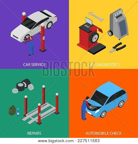 Car Auto Service Banner Card Set Isometric View Diagnostic Equipment Maintenance Repair And Working