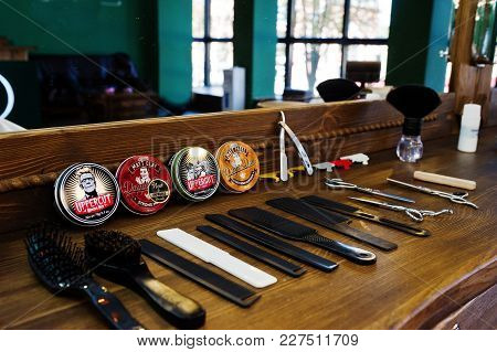 Hai, Ukraine - 08 November, 2017:  Dapper Dan And Upperut Hair Waxes Or Clays Or Pomades, Combs And