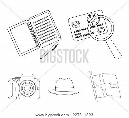Camera, Magnifier, Hat, Notebook With Pen.detective Set Collection Icons In Outline Style Vector Sym