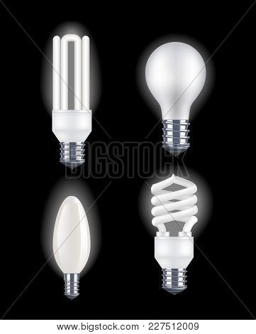 Realistic Detailed Fluorescent And Electric Light Bulb On A Dark Background Saving And Economy Elect