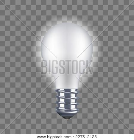 Realistic Detailed Light Bulb On A Transparent Background Saving And Economy Electricity. Vector Ill