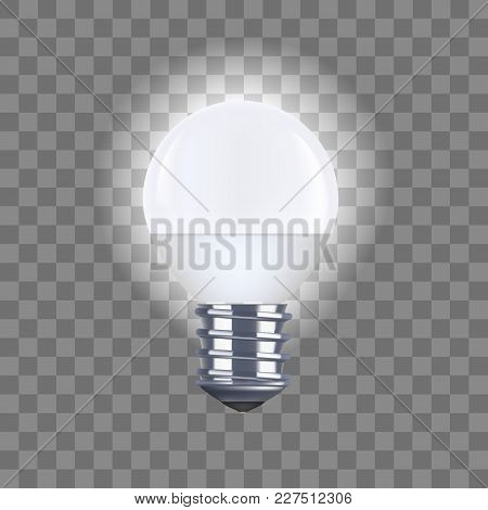 Realistic Detailed Round Light Bulb On A Transparent Background Saving And Economy Electricity. Vect