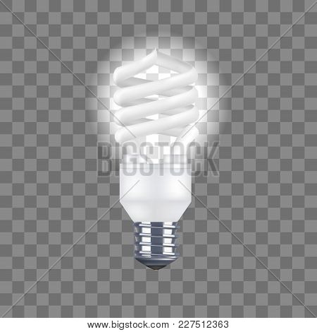 Realistic Detailed Spiral Light Bulb On A Transparent Background Saving And Economy Electricity. Vec