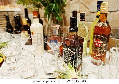 Hai, Ukraine - 08 February, 2018: Bottle Of Jack Daniel's Whiskey And Another Alcoholic Beverage Hav