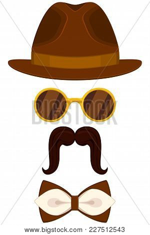 Cartoon Icon Poster Man Father Dad Day Avatar Element Set Hat Glasses Mustache Bow Tie. Fashion Vect