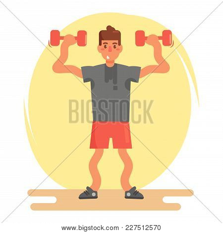 Beginner With Dumbbells. Vector. Cartoon. Isolated Art On White Background. Flat
