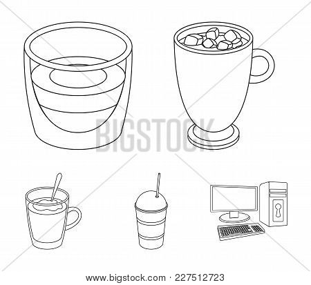 Ristretto, Hot Chocolate, Latte Take-away.different Types Of Coffee Set Collection Icons In Outline
