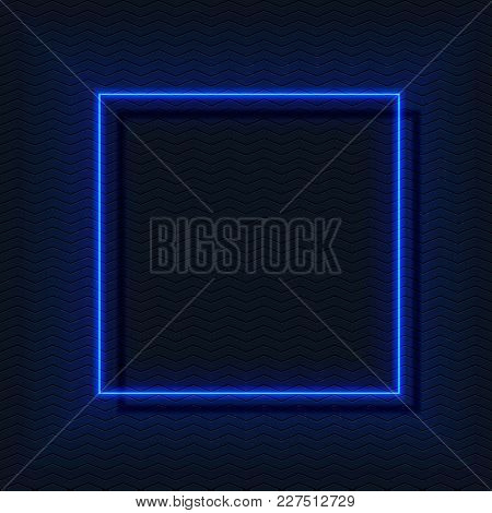 Neon E-square, Glow Vector Frame In Blue Colors, Empty Space For Your Text.