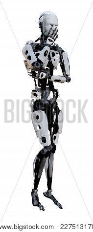 3D Rendering Male Robot On White
